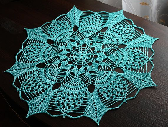 Christmas star crochet doily will be a wonderful decoration of your home interior ! Also it`s a perfect gift idea for mom, grandma, sister and you friends. Turquoise color of this doily harmonizes well with any Christmas decor! The pattern of this doily resembles a Christmas star that looks beautiful in turquoise color. This combination in the design of your home interior will create to a unique holiday atmosphere. This doily made of strong organic hight quality mercerized cotton th...