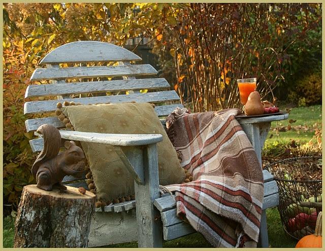 Absolute coziness!!: Adirondack Chairs, Carolyn Aiken, Houses Gardens, Fall Decor, Autumn Gardens, Sweet November, Cozy Reading, Aiken Houses, Gardens Benches