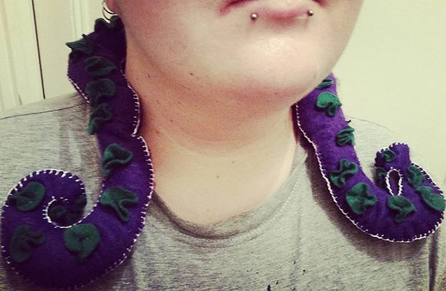Here is the product of my last few days of work. A hand-stitched tentacle neck wrap. I need to try make a bigger one next time. - Ashen Remains  #felt #tentacle #handstitched #ashenremains