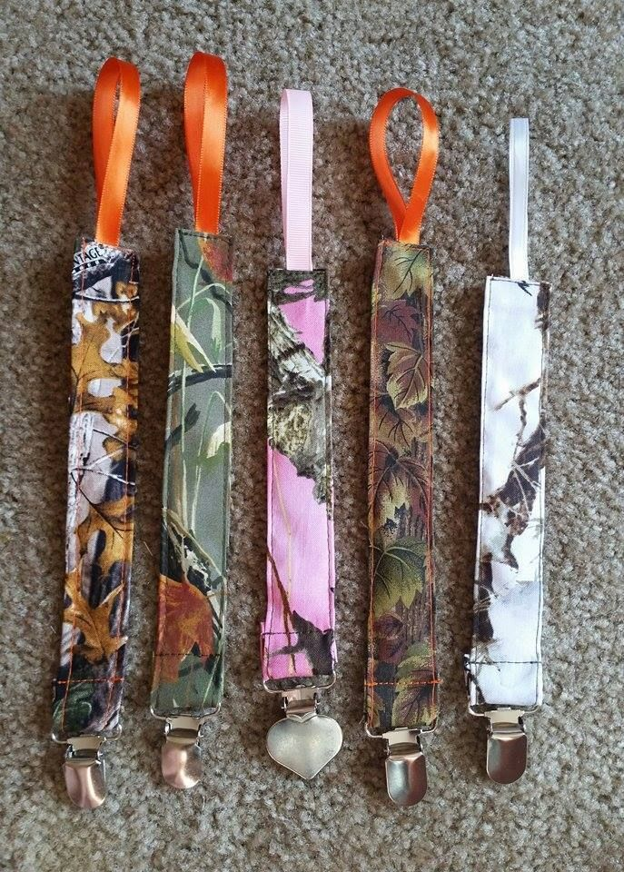 Handmade Pacifier Clip Leash Holder Camoflauge Camo Pink Orange Girl Boy Hunter in Baby | eBay