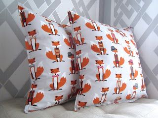 """fox pattern gray throw pillow handmade home decoration autumn """"created by BB"""""""