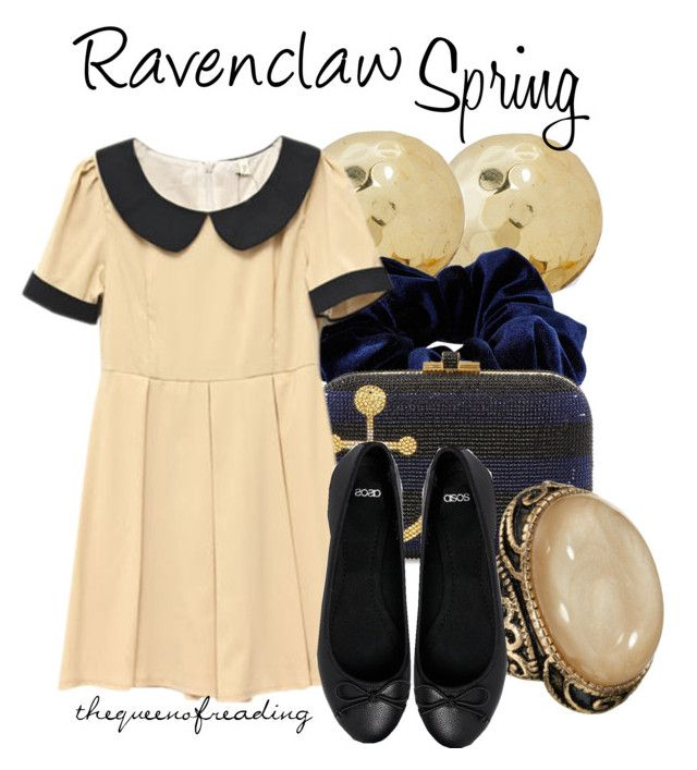Ravenclaw Spring by thequeenofreading on Polyvore featuring polyvore fashion style Retrò ASOS Judith Leiber Accessorize River Island clothing