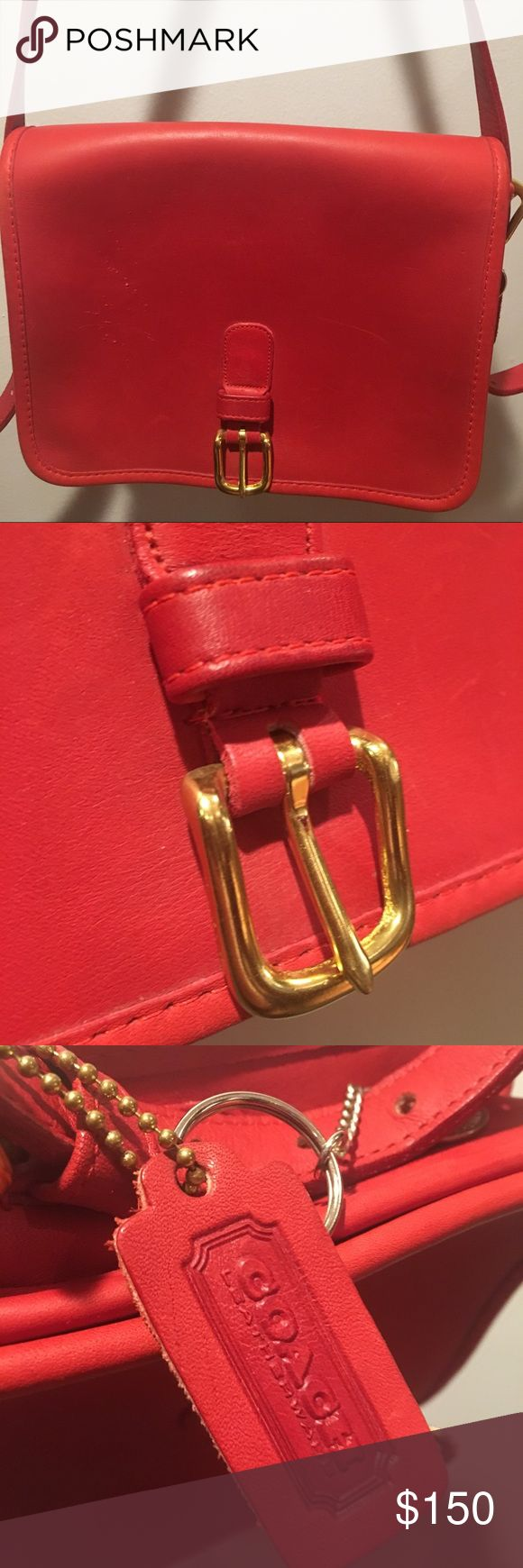 COACH — VINTAGE RED CROSSBODY BAG GENUINE LEATHER Beautiful vintage Coach genuine leather bag in a vibrant red with gold hardware. Zipper pocket inside makes all your belongings secure. Perfect bag for everyday and to dress up any holiday outfit. Slight damage reflected in price and can be seen in pictures. AMAZING DEAL. Coach Bags Crossbody Bags