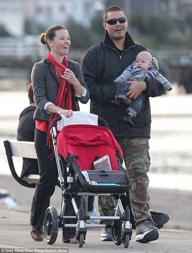 Rolling and strolling: Evangeline with boyfriend Norman Kali and their baby boy Kahekili, Hawaiian for Thunder, pictured in August 2011 in Wellington, New Zealand, where she was filming The Hobbit #Bugaboo #BugabooLovers
