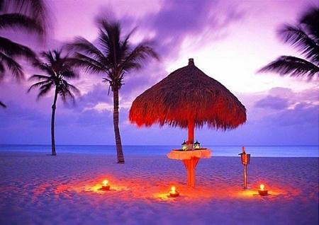 dinner on the beach at night .....romantic