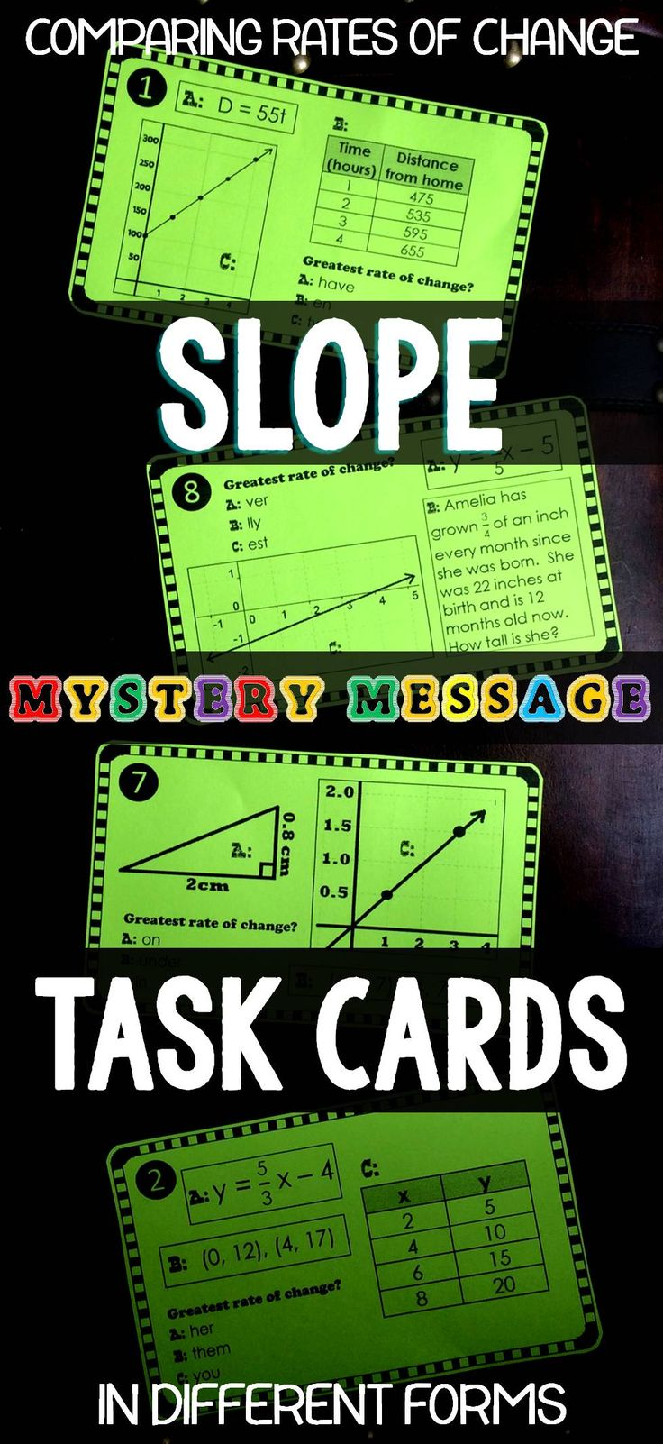 Algebra students calculate and compare slope shown in tables, graphs, equations, ordered pairs, word problems and right triangles to find the greatest slope in this fun task card activity.