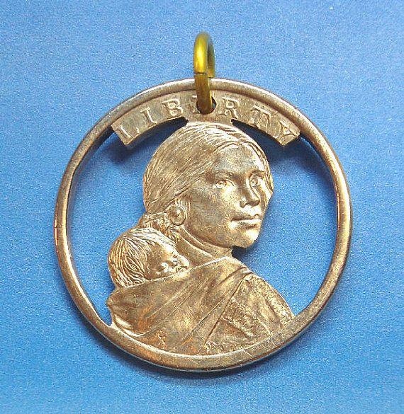 Hand Cut Coin  Sacagawea Dollar by ScribesChoice on Etsy, $17.00