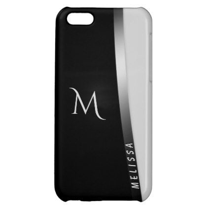 Elegant black white silver name and monogram cover for iPhone 5C - elegant gifts gift ideas custom presents