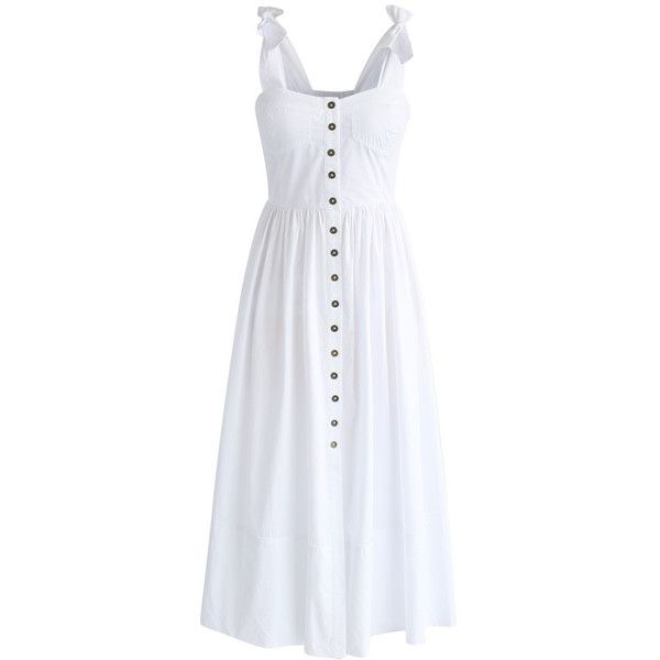 Chicwish Dashing Darling Cami Dress in White ($62) ❤ liked on Polyvore featuring dresses, white, white strappy dress, white bohemian dress, vintage day dress, white dress and boho dresses