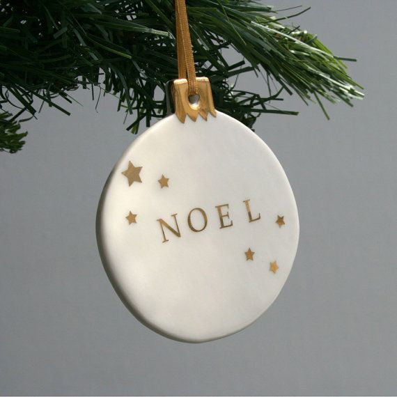 Large Noel Bauble, Christmas Ornament, porcelain and real gold lustre