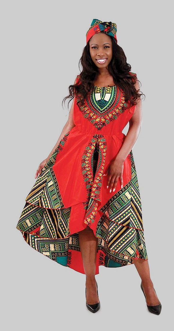 1dc58f66c0 Traditional African Print High Low Dress - This beautiful and bold African  print dress is both