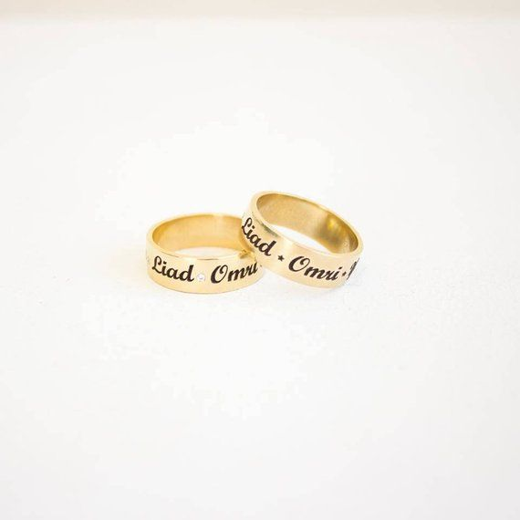 Set Of 2 Rings Gold And Diamonds Ring Personalized Name Ring