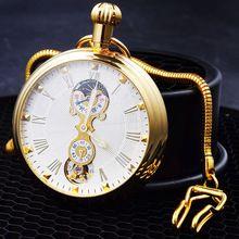 2016 távadó zsebórák luxus mechanikus óra férfi csontváz tárcsák Tourbillon tervezés római számokkal ezüst esetében uzsonna láncot (Kína (szárazföld))