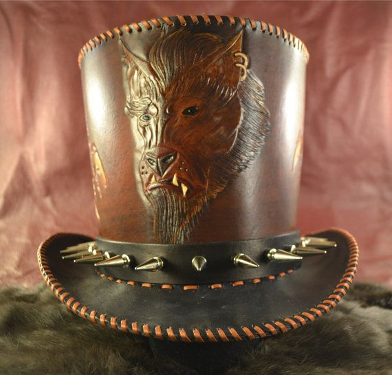 Hey, I found this really awesome Etsy listing at https://www.etsy.com/listing/88452098/steampunk-wolf-man-leather-top-hat