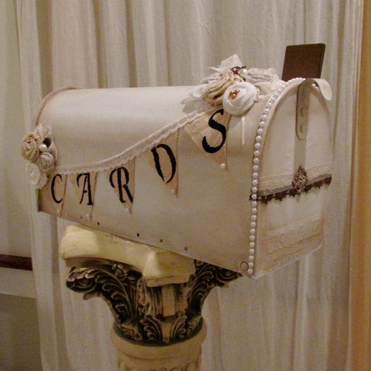 Pedistol Shabby Chic Wedding Card Holder Mailbox 1647. $73.00, via Etsy.