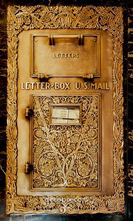 The Art Deco Architecture Site - Art Deco Metalwork Gallery - Mailbox, Exchange Bldg., Seattle, Washington