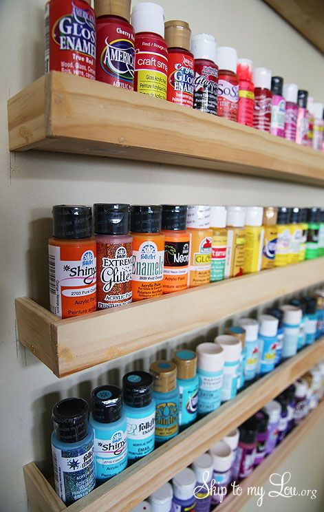 #papercraft #crafting supply #organization. *Craft Paint Storage {Wood Project}* This craft paint storage idea will get you organized in no time.www.skiptomylou.org #craftroom organizing #tutorial #lowescreator