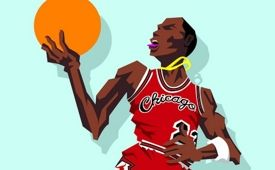 Michael Jordan '1985 Slam Dunk Contest' Caricature Art