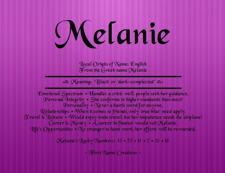 8 best melanie images on pinterest baby names gift boxes and first name creations name meaning negle Images
