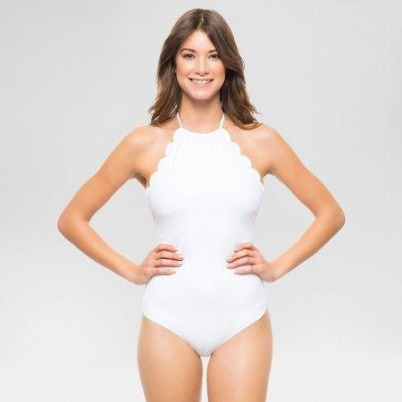 Women's Scallop High Neck One Piece Swimsuit - Red - Vanilla Beach : Target