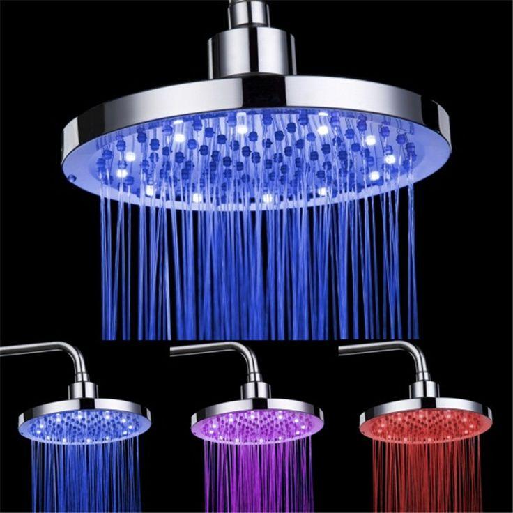 "Round RGB 8"" inch 3 Colors Changing LED Shower Head Top Spray Showerhead Rain Shower Head"