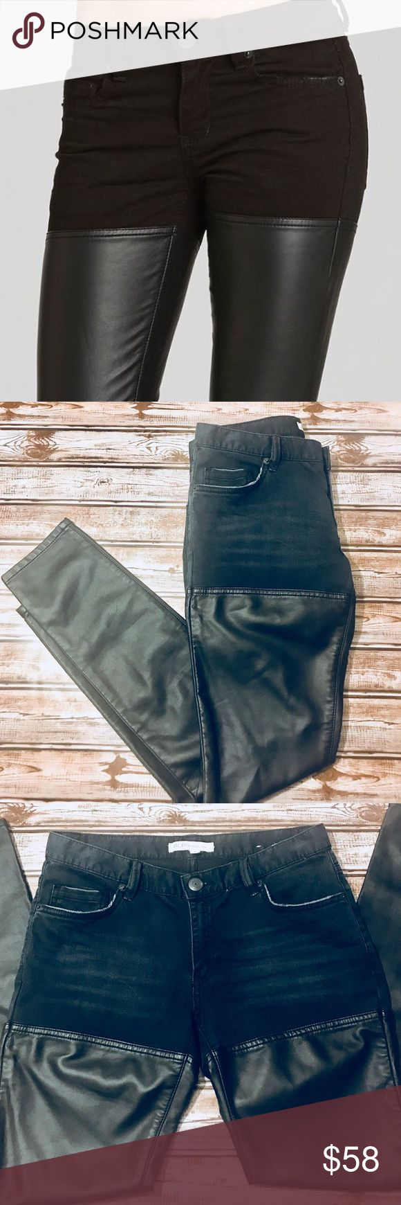 BCBGeneration Jasper Skinny Thigh Leather Denim New! Without tags. BCBGeneration Jeans with Faux Leather Panel. Dark blue wash jeans.  72% Cotton  26% Polyester  2% Spandex  Contrast: 60% Polyurethane  40% Rayon BCBGeneration Jeans Skinny