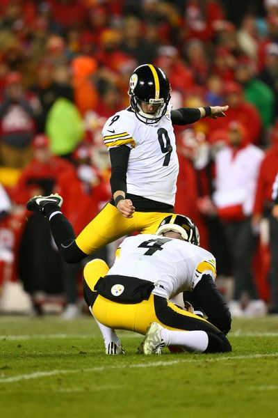 Kicker Chris Boswell #9 of the Pittsburgh Steelers attempts a field goal from the hold of teammate Jordan Berry #4 during the second quarter against the Kansas City Chiefs in the AFC Divisional Playoff game at Arrowhead Stadium on January 15, 2017 in Kansas City, Missouri.