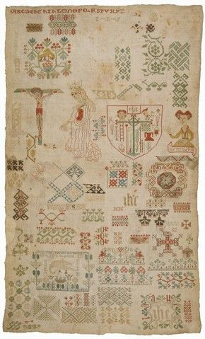 Linen sampler embroidered with silk, by unknown maker, Germany, 1500-50. Museum no. T.114-1956