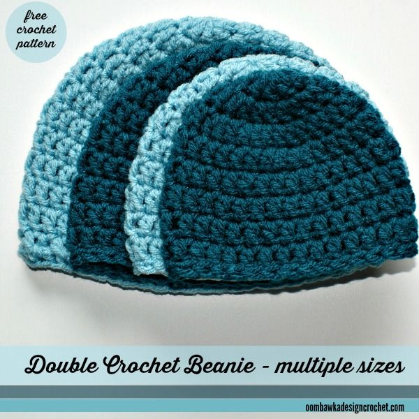 Simple Double Crochet Hat - Sizes preemie to adult large - Free Crochet Pattern
