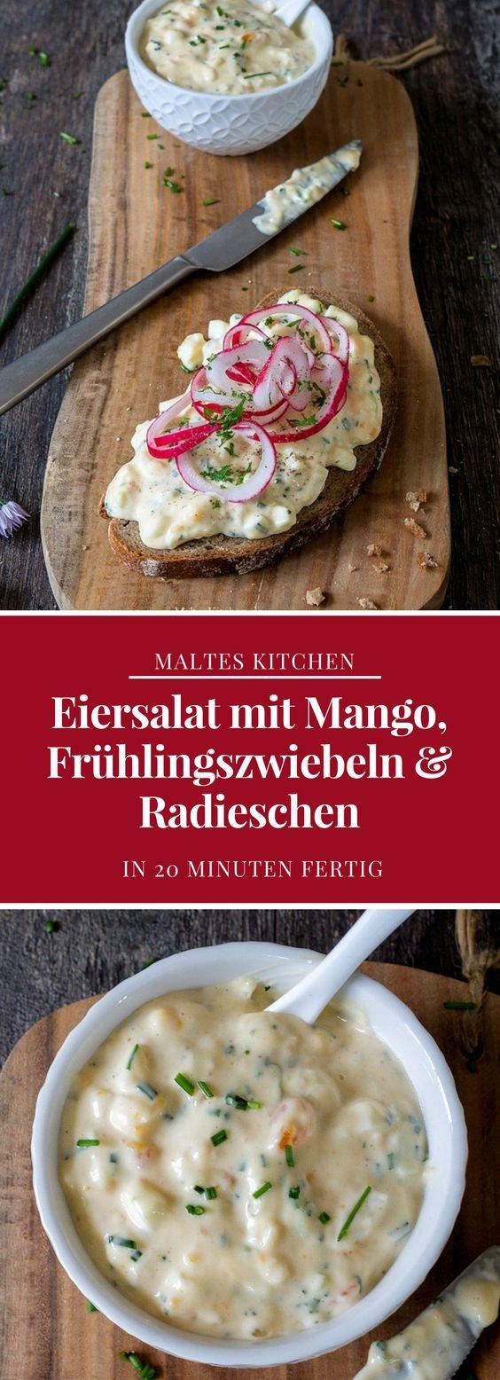 Eiersalat mit Mango, Frühlingszwiebeln & Radieschen | #Rezept von malteskitchen.de