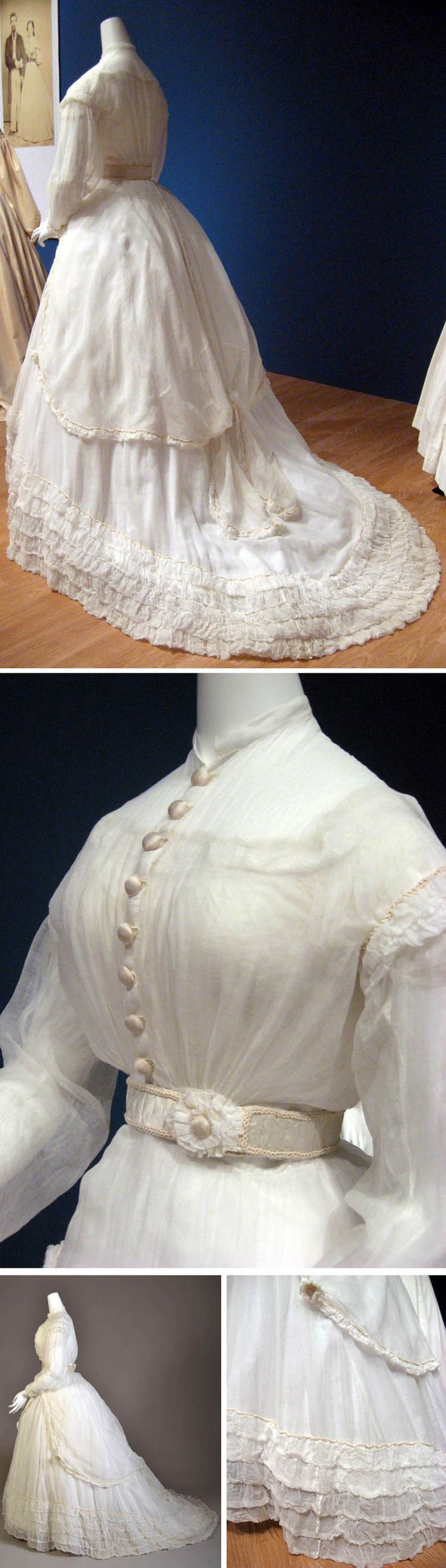 Wedding gown, American, 1868. Cotton gauze with satin belt, cotton corset cover, and petticoat. Kent State Univ. Museum via Angela Thornhill's Pinterest boards and other Pinterest boards.