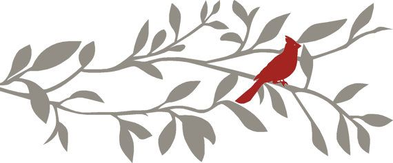 Cardinal Wall Decal Tree Wall Decal Branch Wall Decal Bird Wall Decal Bird Wall Decals Wall Decal Branches