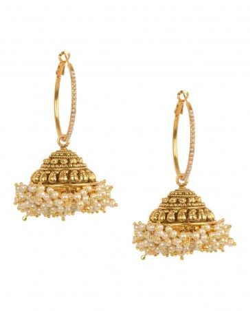 Golden Hoop Earrings with Pearl Embellishments by Anjali Jain Shop Now…