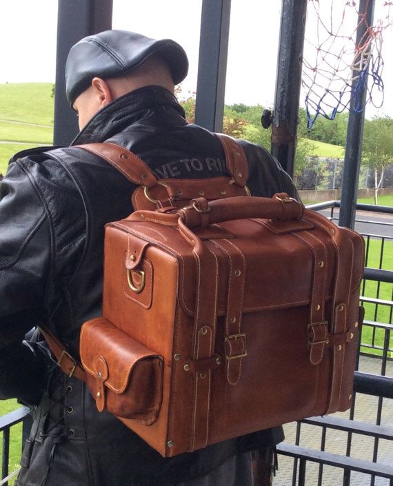 Brown Leather Handmade Multifunctional Tourist Motorcycle