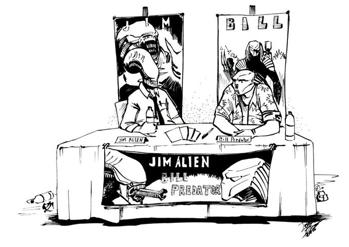 Jim Alien and Bill Predator at a convention