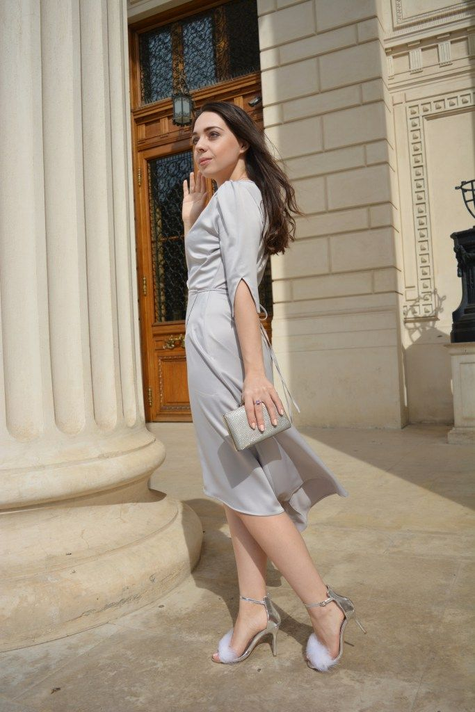 Party Outfit Silver Grey Dress Sparkling Clutch and Flurry Sandals