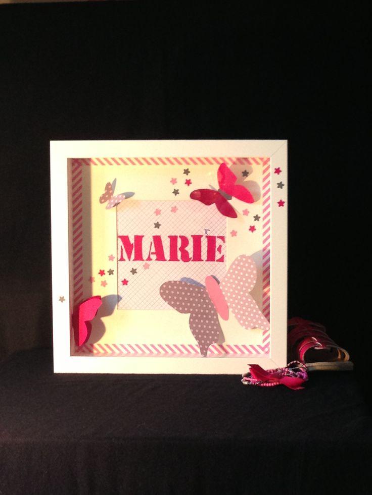 Cadre 3D. Littlebelette.fr. Thème papillon