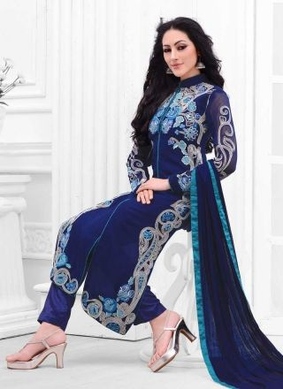 Lordly Nevy Blue Georgette Embroidery Work Churidar Suit http://www.angelnx.com/Salwar-Kameez/Churidar-Suits