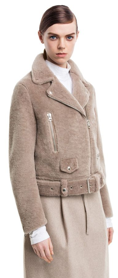 Mock felted stone shearling motorcycle jacket #AcneStudios #PreFall2014