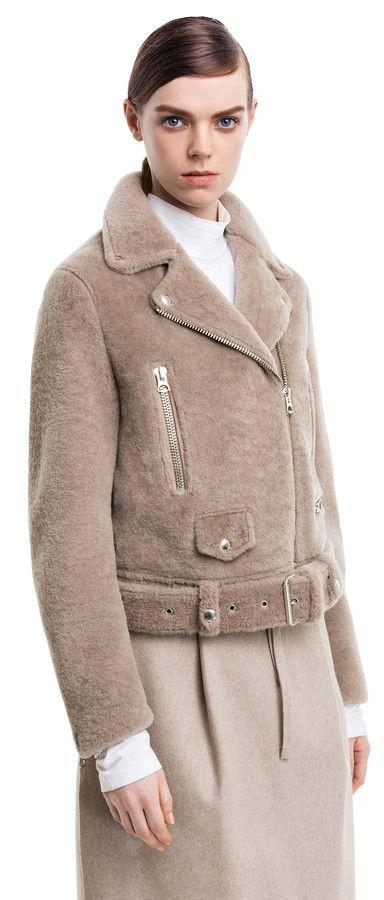 Mock felted stone shearling motorcycle jacket #AcneStudios #PreFall2014