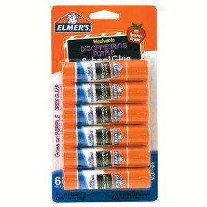 #8: Elmer's Disappearing Purple School Glue Sticks, 0.21 oz Each, 6 Sticks per Pack (E1560)