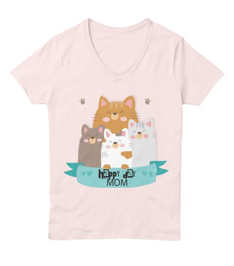 Happy Day Cats Mom Pale Pink  T-Shirt Front