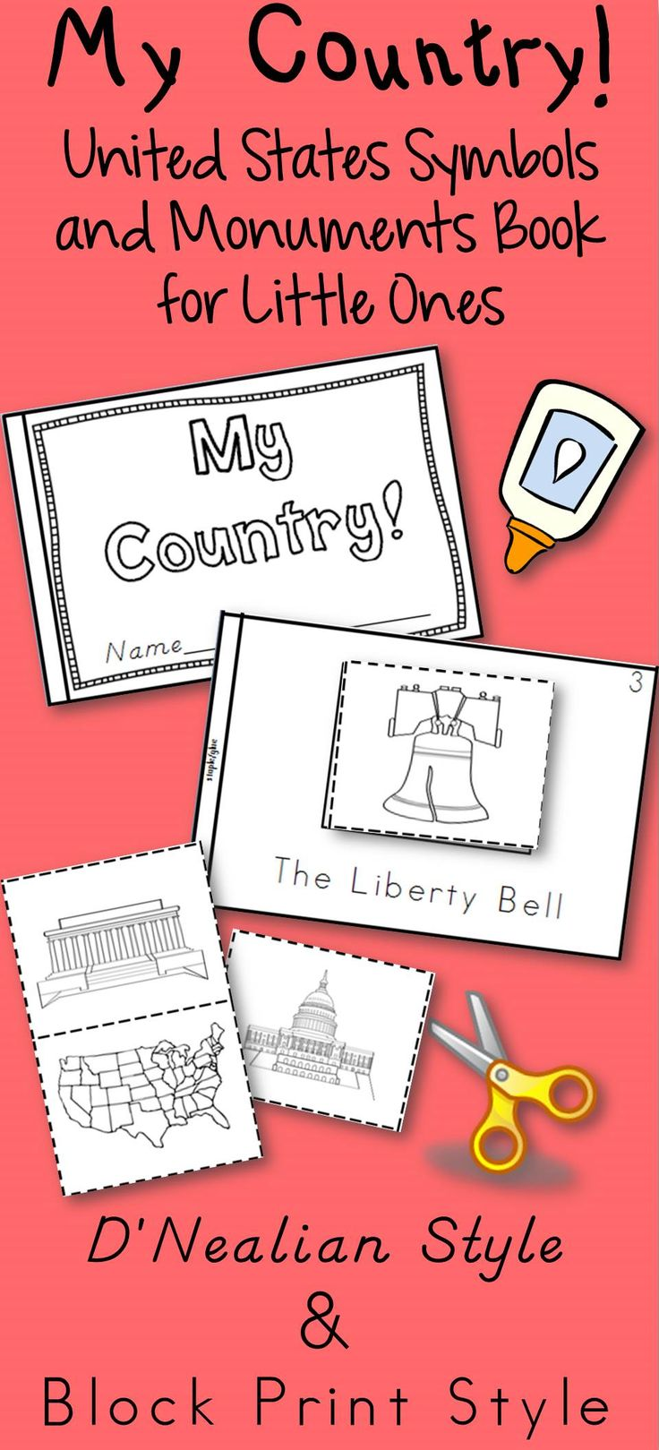 US symbols and monuments book.  Click pin to go to page that has product in both block print and d'nealian available. United States history, map, liberty bell, Mt. Rushmore, Eagle, White House, Statue of Liberty, Capitol building, Washington Monument, flag, .