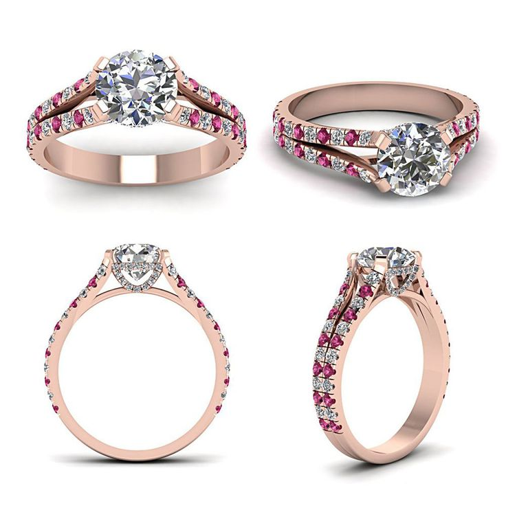 14K Rose Gp 925 Silver Round Sim. Diamond Solitaire with Accents Engagement Ring #br925 #SolitairewithAccents