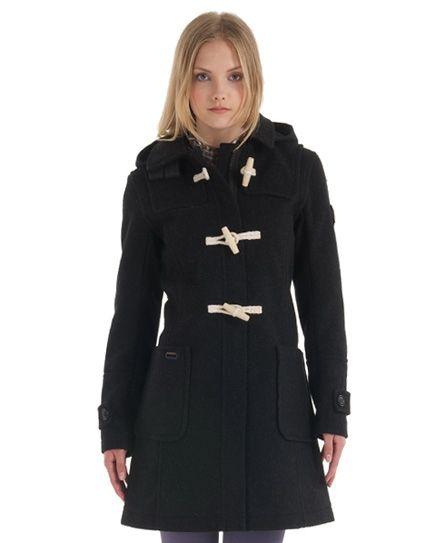 Womens Black Duffle Coat
