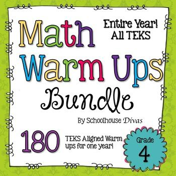 50% off until 10 p.m. CST on Saturday, March 29th!  180 TEKS aligned daily math warm ups for the whole year! These warm ups are created with the STAAR test in mind!