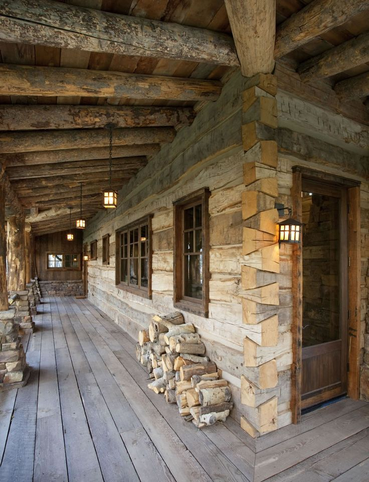 The 25 best cabin porches ideas on pinterest lake for Log home porches