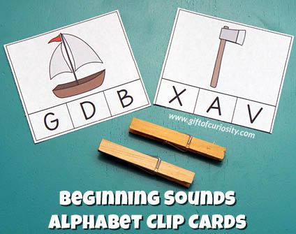 Free Beginning Sounds Alphabet Clip Cards for kids who are learning to identify the initial sounds of words and match those sounds to letters.