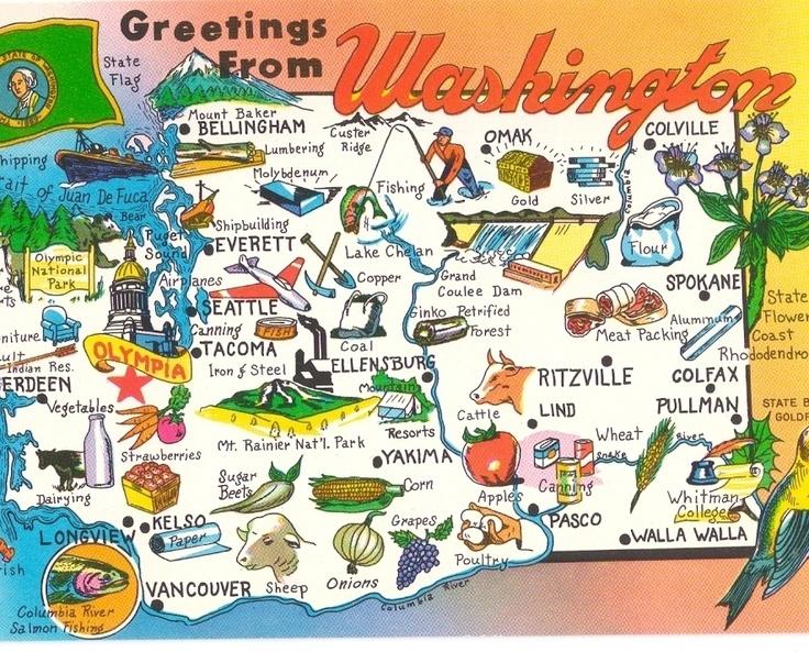 Best Washington Images On Pinterest Washington State - Map of the state of washington usa