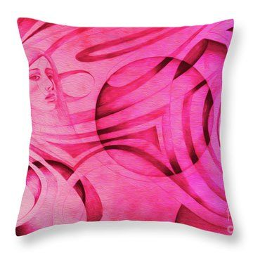 Woman In Pink - Psychedelic Lady Throw Pillow by Simon Knott